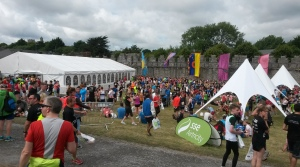 The crowd at Swords Castle beside the finish line.